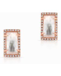 Anne Sisteron - 14kt Rose Gold Diamond Mother Of Pearl Sara Stud Earrings - Lyst