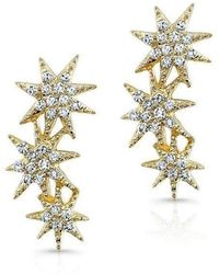 Anne Sisteron - 14kt Yellow Gold Diamond Triple Starburst Earrings - Lyst