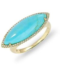 Anne Sisteron | 14kt Yellow Gold Diamond Turquoise Marquis Ring | Lyst