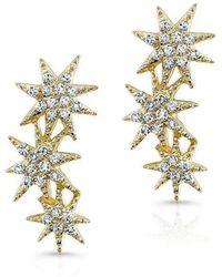 Anne Sisteron - 14kt Yellow Gold Diamond Triple Starburst Earrings - Lyst