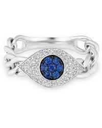 Anne Sisteron - 14kt White Gold Diamond Sapphire Evil Eye Chain Ring - Lyst