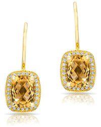 Anne Sisteron - 14kt Yellow Gold Diamond Citrine Rectangle Earrings - Lyst