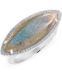 Anne Sisteron - 14kt White Gold Labradorite Diamond Marquis Ring - Lyst