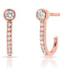 Anne Sisteron - 14kt Rose Gold Diamond Hook Stud Earrings - Lyst