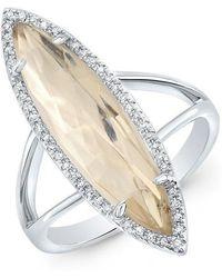 Anne Sisteron - 14kt White Gold Diamond Topaz Small Serena Ring - Lyst