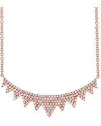 Anne Sisteron - 14kt Rose Gold Diamond Elizabeth Crown Necklace - Lyst