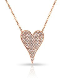 Anne Sisteron - 14kt Rose Gold Diamond Medium Pave Heart Necklace - Lyst
