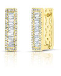 Anne Sisteron - 14kt Yellow Gold Baguette Diamond Rectangle Honey Huggie Earrings - Lyst
