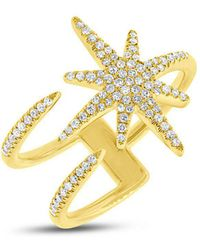 Anne Sisteron - 14kt Yellow Gold Diamond Star Wrap Ring - Lyst