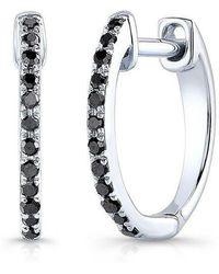 Anne Sisteron - 14kt White Gold Black Diamond Huggie Earrings - Lyst