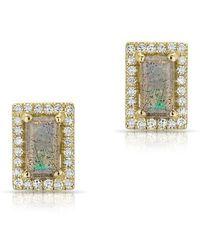 Anne Sisteron - 14kt Yellow Gold Labradorite Diamond Mini Rectangle Stud Earrings - Lyst
