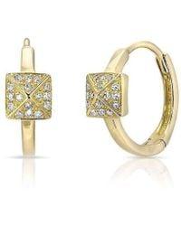 Anne Sisteron - 14kt Yellow Gold Diamond Pyramid Huggie Earrings - Lyst