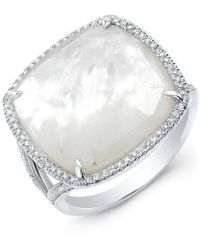 Anne Sisteron - 14kt White Gold Mother Of Pearl Diamond Doublet Ring - Lyst