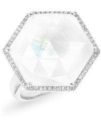 Anne Sisteron - 14kt White Gold Moonstone Diamond Hexagon Cocktail Ring - Lyst