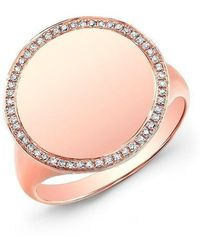 104660c84d7953 Anne Sisteron - 14kt Rose Gold Diamond Solid Circle Ring - Lyst