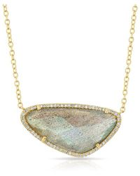 Anne Sisteron - 14kt Yellow Gold Diamond Organic Labradorite Necklace - Lyst