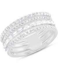 Anne Sisteron 14kt White Gold Diamond Baguette Eternity Ring - Multicolour
