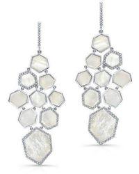 Anne Sisteron - 14kt White Gold White Mother Of Pearl Diamond Chandelier Earrings - Lyst