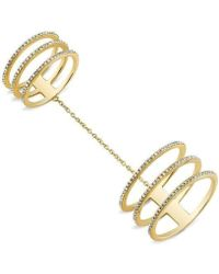 Anne Sisteron - 14kt Yellow Gold Diamond Chained Double Ring - Lyst