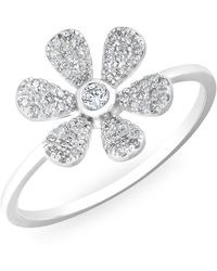 Anne Sisteron - 14kt White Gold Diamond Single Daisy Ring - Lyst