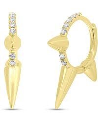 Anne Sisteron - 14kt Yellow Gold Diamond Smooth Punk Rock Huggie Earrings - Lyst