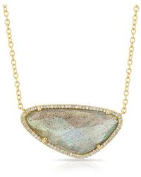 Anne Sisteron - 14kt Yellow Gold Diamond Organic Labradorite Necklace - Lyst