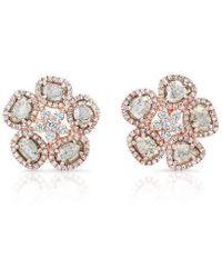 Anne Sisteron - 14kt Rose Gold Diamond Slice Mae Flower Earrings - Lyst