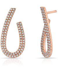 Anne Sisteron - 14kt Rose Gold Diamond Curve Earrings - Lyst