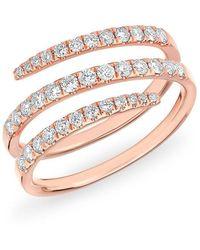 Anne Sisteron - 14kt Rose Gold Half Diamond Spring Ring - Lyst