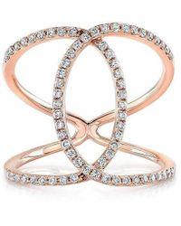 Anne Sisteron 14kt Rose Gold Diamond Cigar Band Ring - Metallic