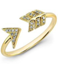 Anne Sisteron - 14kt Yellow Gold Diamond Arrow Ring - Lyst