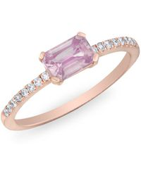 Anne Sisteron - 14kt Rose Gold Pink Sapphire Diamond Madeline Ring - Lyst