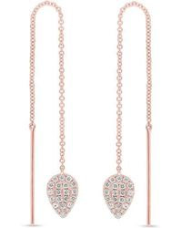 Anne Sisteron - 14kt Rose Gold Diamond Monaco Threader Earrings - Lyst