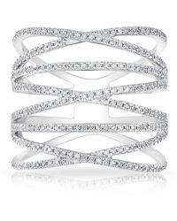 Anne Sisteron - 14kt White Gold Diamond Multiband Riverly Ring - Lyst