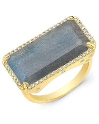 Anne Sisteron - 14kt White Gold Diamond Base Labradorite Ring - Lyst