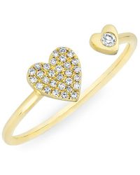 Anne Sisteron - 14kt Yellow Gold Diamond Double Heart Ring - Lyst