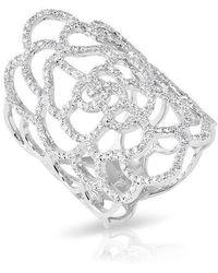 Anne Sisteron - 14kt White Gold Diamond Camellia Flower Ring - Lyst