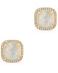 Anne Sisteron - 14kt Yellow Gold Moonstone Diamond Square Stud Earrings - Lyst
