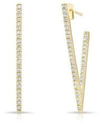Anne Sisteron - 14kt Yellow Gold Diamond Large Triangle Bar Earrings - Lyst