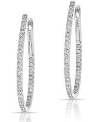 Anne Sisteron - 14kt White Gold Diamond Pear Hoop Earrings - Lyst