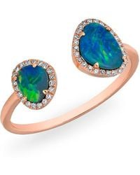 Anne Sisteron - 14kt White Gold Opal Diamond Doublet Ring - Lyst