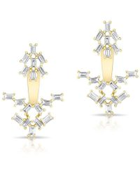 Anne Sisteron - 14kt Yellow Gold Baguette Diamond Anastasia Floating Earrings - Lyst
