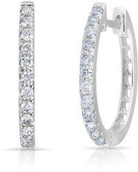 Anne Sisteron - 14kt White Gold Diamond Marie Hoops - Lyst