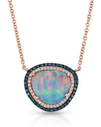 Anne Sisteron - 14kt Rose Gold Blue Diamond Halo Opal Necklace - Lyst