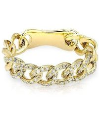 Anne Sisteron - 14kt Yellow Gold Diamond Chain Link Light Ring - Lyst