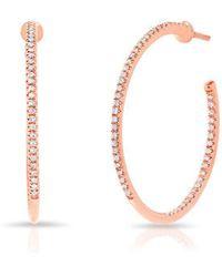 "Anne Sisteron - 14kt Rose Gold Diamond 1"" Hoop Earrings - Lyst"