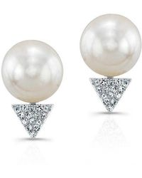 Anne Sisteron - 14kt Rose Gold Pearl Diamond Triangle Stud Earrings - Lyst