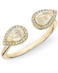 Anne Sisteron - 14kt Yellow Gold Moonstone Diamond Throne Ring - Lyst
