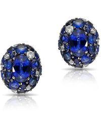 Anne Sisteron - 14kt White Gold Blue Sapphire Diamond Bijou Earrings - Lyst