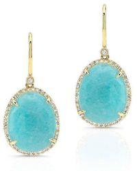 Anne Sisteron - 14kt Yellow Gold Diamond Oval Amazonite Diamond Earrings - Lyst